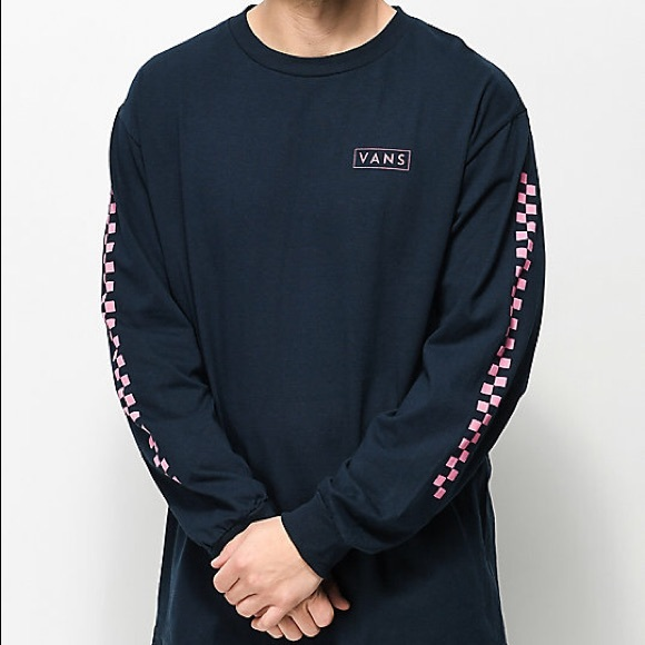 d4415838 Vans Checkmate Navy & Pink Long Sleeve T-Shirt